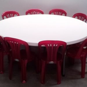 Kids 1.5m Round Table with Stackable Chairs